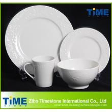 16PCS 20PCS blanco grabado en relieve restaurante del hotel utilizado porcelana cerámica juego de vajilla (622013)