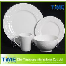 16 PCS 20 PCS Blanc En Relief Hôtel Restaurant Utilisé Porcelaine En Céramique Vaisselle Set (622013)