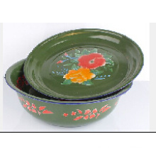 2015 High Quality Green Enamel Basin with Cover Lid