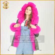 A Fábrica Fornece Fornecimento de Casacos com Capuz Faux Raccoon Coat Womens Hooded Parka