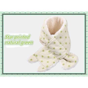 Lenço de bebê de algodão orgânico quente de inverno com lã de imitação feita na China