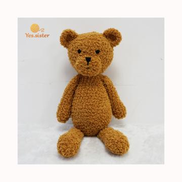 Urso de pelúcia marrom de brinquedo de bebê artesanal de fábrica