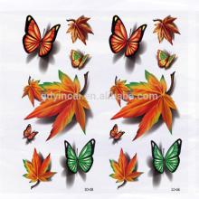 Patrón de hojas de arce Diseño de otoño Etiqueta de tatuaje temporal 3D para cubrir cicatrices