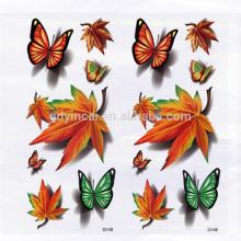 Padrão de folhas de plátano Projeto outono Etiqueta de tatuagem 3D temporária para cobrir cicatrizes