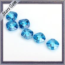 Aquamarine Blue Cushion Double Checker Brilliant Cut Cubic Zirconia