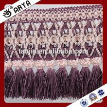 2016 Nuevos productos diseñados de Hotsale Handcraft para la decoración casera del cordón ancho púrpura de la franja de la borla