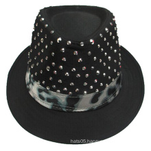 High Quality Custom Made Black Fedora Hat with Sequins