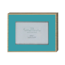 Blue border wood photo frame