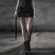Punk Steam Skirt Summer Style 2020 Fashion High Quality Strap Pocket Black Mini Black Women Skirts OPQ-560 Hot Sell PUNK RAVE