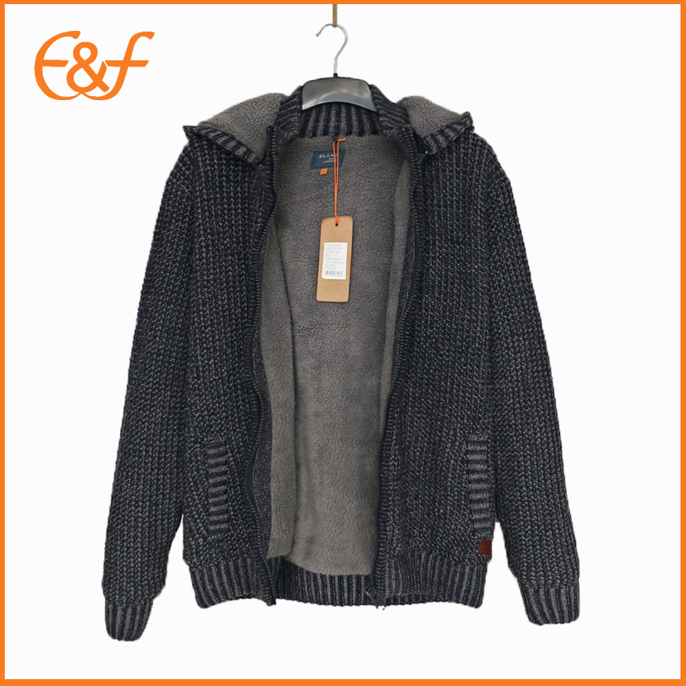 Hoody sweater cardigan with zipper