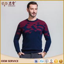 Diseños de suéter para hombre 100% lana merino cuello redondo suéter azul marino o suéter de ropa interior para hombre