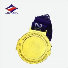 Medalla personalizada de campeonato de oro brillante chapado en oro