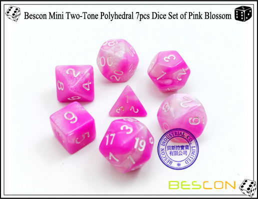 Bescon Mini Two-Tone Polyhedral 7pcs Dice Set of Pink Blossom-1