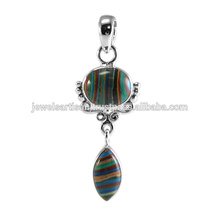 Rainbow Gemstone 925 Sterling Silver Pendant Jewelry
