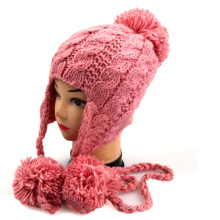 Ladies Chunky Hand Knit Hat with Earflap Pattern