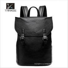 Новые пользовательские мужчины Высшая школа кожаная сумка для ноутбука рюкзак