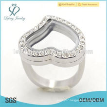 Hot wholesale silver crystal stainless steel floating heart locket rings fashion ladies finger ring jewelry