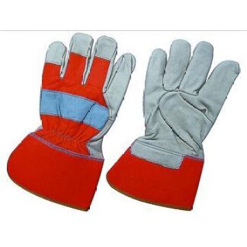 Cuero de vaca grano PE manguito completo Palm Work Glove-3140. Rd