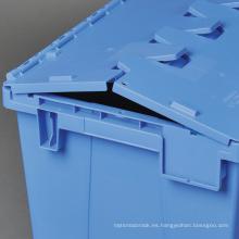 Cajas de almacenamiento de plástico de alta calidad bisagra tapas contenedores de anidamiento plano