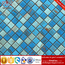 China supply bule Hot melt mosaic tile for swimming pool cheap tile