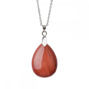 Natural Red Jasper 28x35MM Waterdrop Pendant Necklace with 45CM Silver Chain
