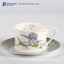 200ml peinture à oiseaux de petite capacité style naturel fin chine décorative chaise espresso italienne, ensembles de cadeaux de café