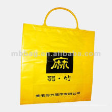 yellow rigid clip handle packing plastic bag for clothes