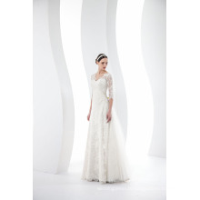 Custom Made V Neck 3/4 Sleeves Lace Bridal Gown Wedding Dress