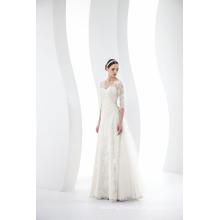 Custom Made V Neck mangas 3/4 Lace vestido de casamento vestido de noiva
