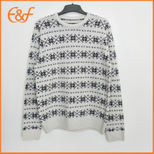 Mens Acrylic Snow Pattern Casual Winter Jacquard Sweater