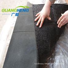 Black Color Rubber Floor Tile, Cross Pattern Gym Rubber Floor Mat