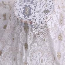 Tissu de broderie bicolore à fils de soie composés