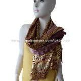 Yarn dyed cotton scarf with golden foil, sized 180*70+1.5cm, self fringe