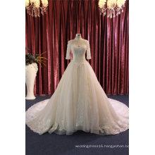 High Collar Half Sleeve Ball Wedding Dress