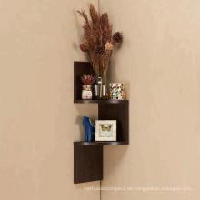 Kleine, dreistufige Eckregale aus Holz im Zickzack-Stil Kleine, dreistufige Eckregale aus Holz im Design