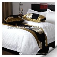 Fornecer cama de hotel de veludo decorativo cama