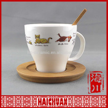 HCC ceramic cup with wood saucer, ceramic engrave cup and saucer