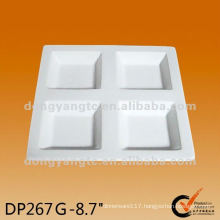8.7 Inch plain white square ceramic compartment plate