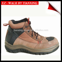 Sapatos de segurança estilo caminhante com parte superior de couro e dedo de pé de aço