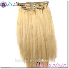 Cabeça cheia Set 18 inch Clipe Na Extensão Do Cabelo Humano, Indiano Remy atacado 200g única vertente grampo da extensão do cabelo