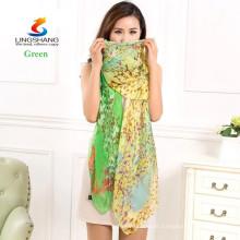 Lingshang neue Frauen Art und Weise langes weiches Verpackungsdame-Schal silk Druck Chiffon- Schal