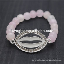 2014 New Design Natural Gemstone Rose Quartz With Diamante Mouth Bracelet