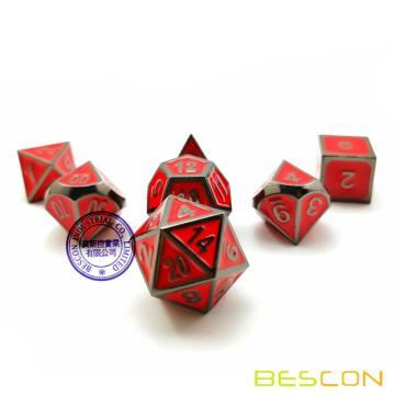 Bescon Deluxe Glossy Black and Fire Red Enamel Solid Metal Polyhedral Role Playing RPG Game Dice Set of 7 w/ Free Drawstring Bag