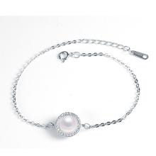 Venda Por Atacado prata esterlina real 925 pulseira de pérolas naturais