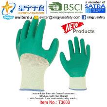 (Produtos de Patente) Luvas de revestimento verde com revestimento látex T3003