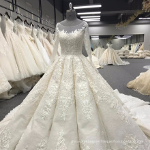 Vestido de novia de la gasa de manga larga de cuentas largas 2017