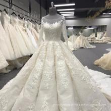 Pesado beading vestido de noiva de manga comprida vestido de noiva 2017