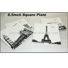 Fashion City Design 8.5Inch Porcelain Square Plate For BS130601A