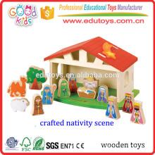 Regalos de Navidad hermosamente hechos a mano de los niños, escena de la natividad viva Regalo de madera de la Navidad