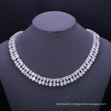 Simple design white gold brass dress up jewelry set